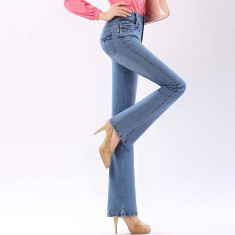 d3216b13a95 Get Quotations · Fashion New american apparel dark   light blue high  waisted jeans skinny easy flare jeans femme