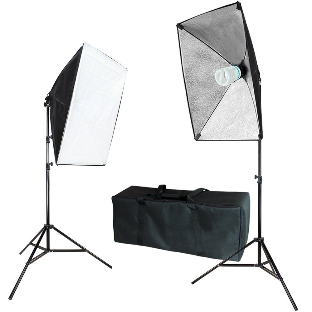 "Julius Studio 20"" x 28"" Soft Box with Bulb Socket, Photography Softbox Continuous Lighting System Equipment Light Kit, Photo Model Portrait Shooting Box, Photo Studio, JSAG271"