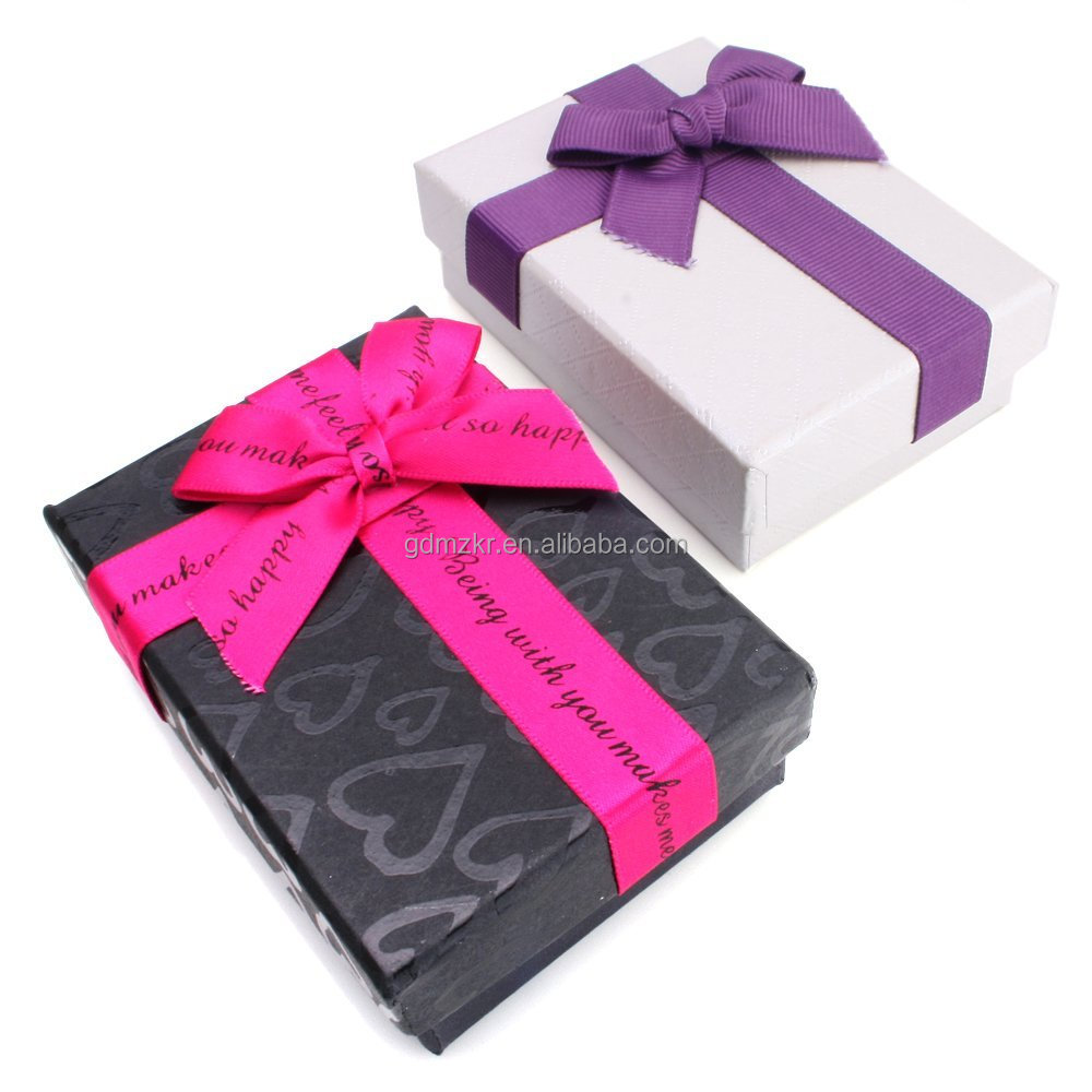 Rectangle Jewellery Gift Boxes Bowknot Cardboard Paper Boxes For Pendant Box Assorted Color