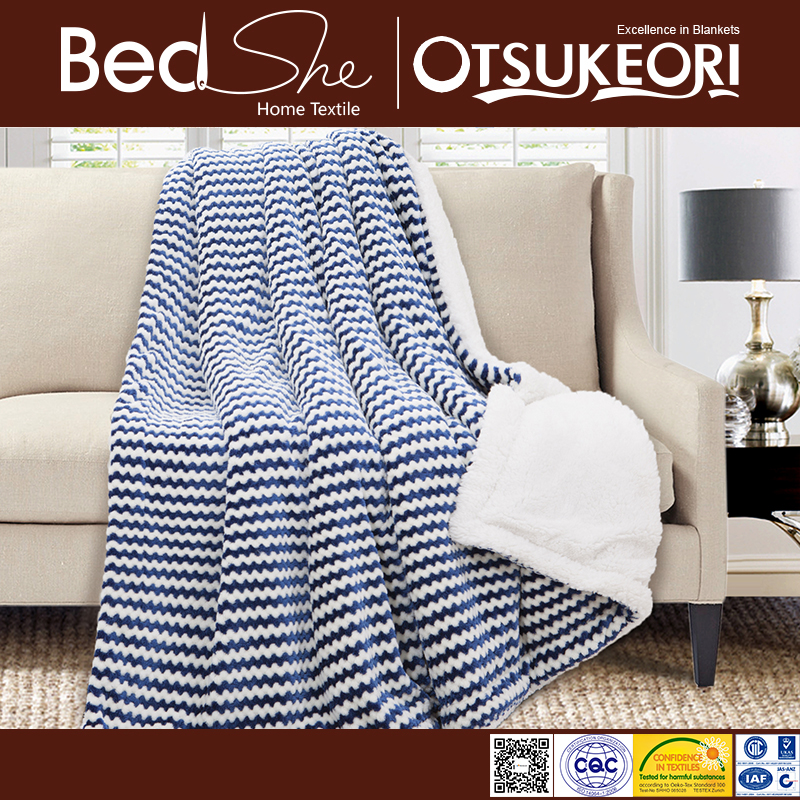 2017 Tender Touch best price stripe warm thick sherpa blanket