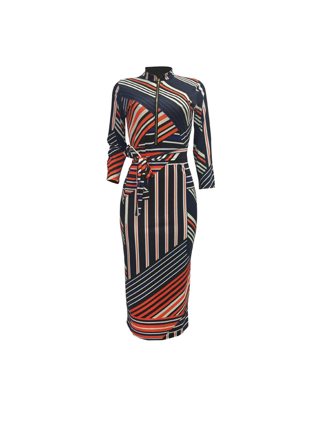 2019 Colorful Custom Sexy Stripe Printed  V Neck Womens Latest  Ladies Dress