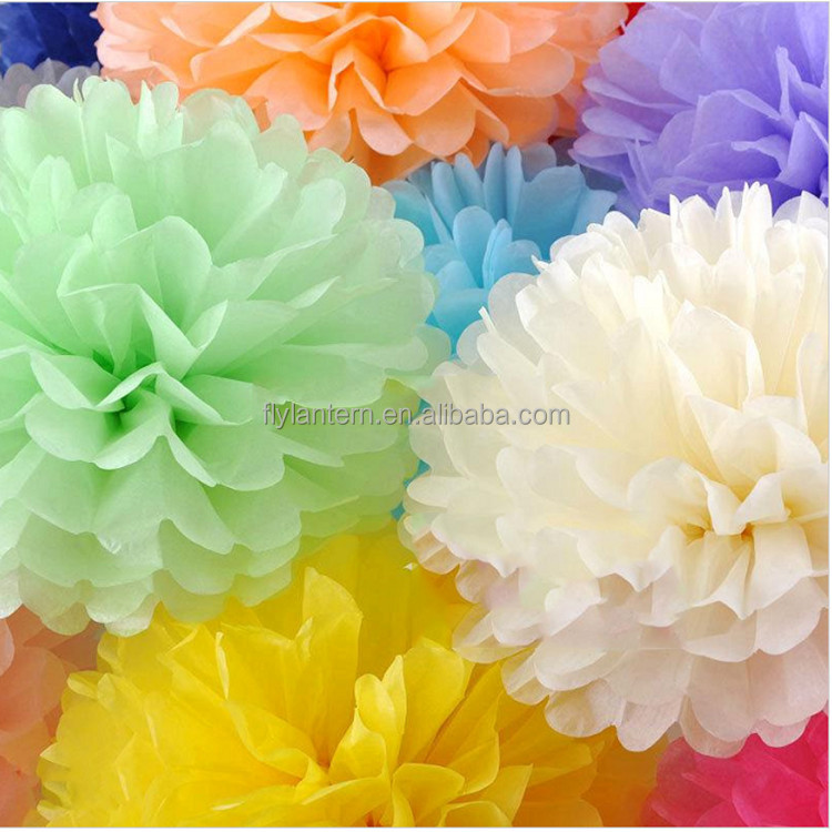 2016 colorful paper tissue pompoms for wedding decoration or parties