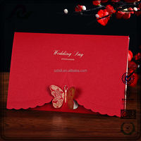 Wholesale laser cut wedding invitations gold stamping butterfly wedding invitation card