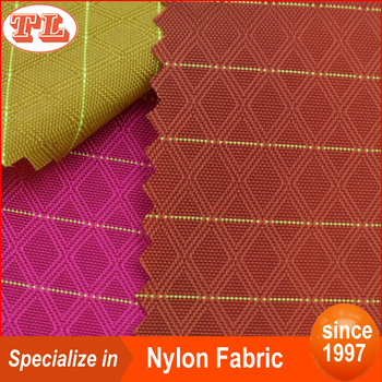 Wholesale 210D prismatic grid ripstop nylon fabric with PU coated for bags