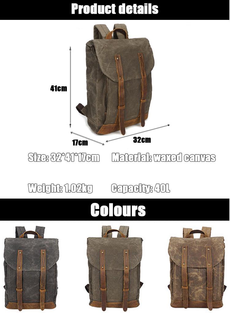 European retro vintage style water waxed resistant canvas back pack bagpack rucksack knapsack backpack bag