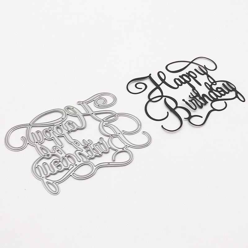 happy birthday Words Metal Cutting Dies Stencil for DIY Scrapbooking Photo Album Embossing Paper Cards Making Decor Crafts