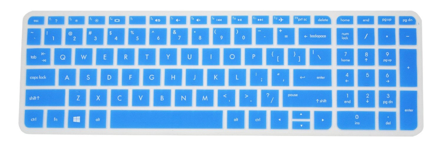 PcProfessional Blue Ultra Thin Silicone Gel Keyboard Cover for HP m6-p*** m6-w*** series Keyboard Protector, m6-p013dx m6-w010dx m6-w102dx m6-w010dx (Please Compare Keyboard Layout and Model)