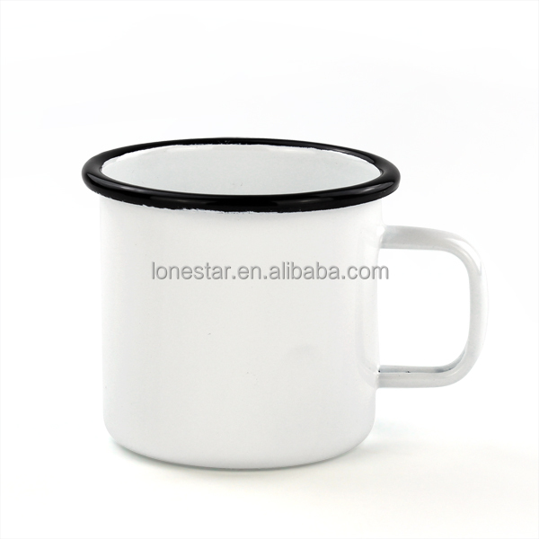 10oz stainless steel enamel white mug for coffee