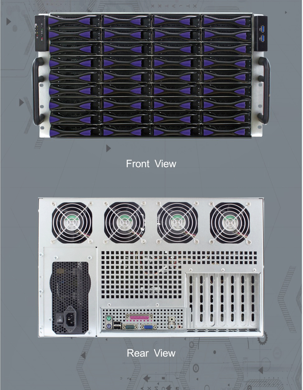 ED636H65-E 6u 36 bays 19 inch rack mount chassis computer case