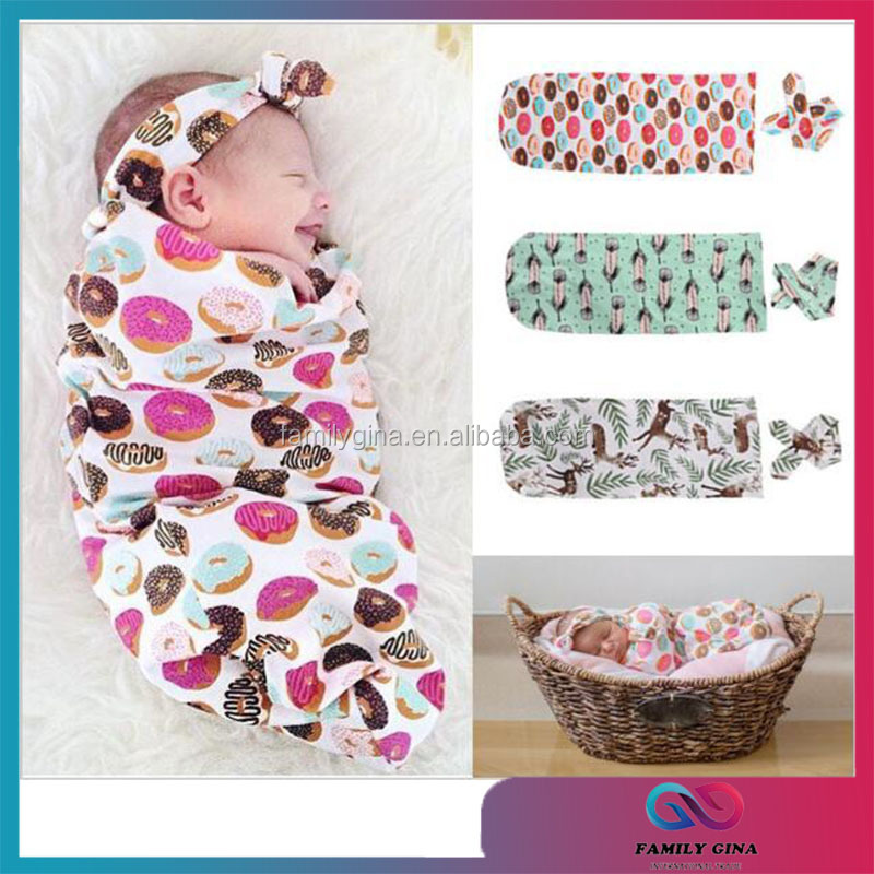 Wholesale Hot Sale Newborn Baby Swaddle Blankets With Headband