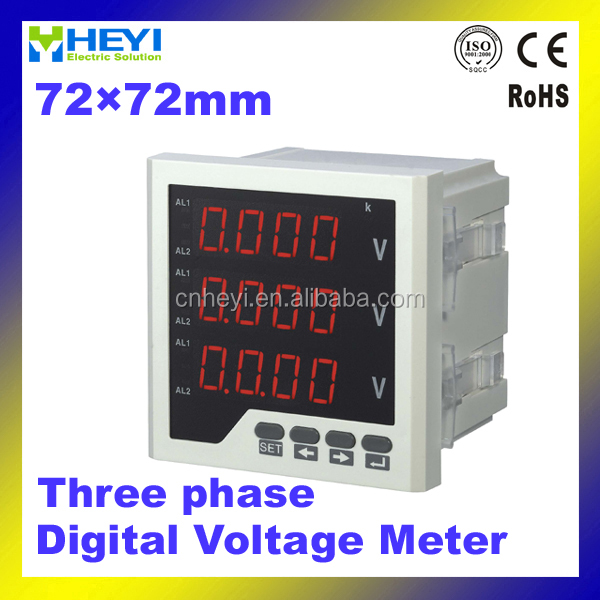 HEYI 3-phase digital panel meter 72*72mm ac LED display meter digital voltmeter