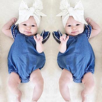 fb407c9345c Новая мода Taobao детская одежда боди костюм для малышей Летняя одежда  девочек джинсовый комбинезон новорожденных