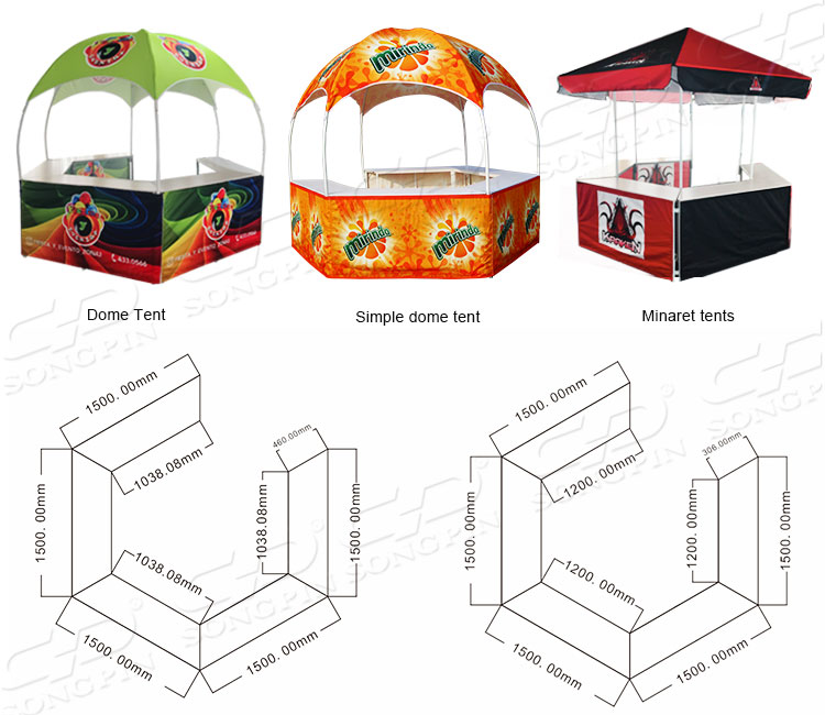 2019 Songpin Kiosk Giant Porch Event Easy 10x10 Cheap Sublimation Display Dome Hexagon Tent