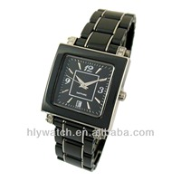Superior quality black ceramic watch made in China OEM factory,Swiss royal watch for upper class people,square face design watch
