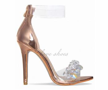 d96212f501ba1 Ladies Shoes High Heel Sandals Rose Gold Gem Clear Heels - Buy ...