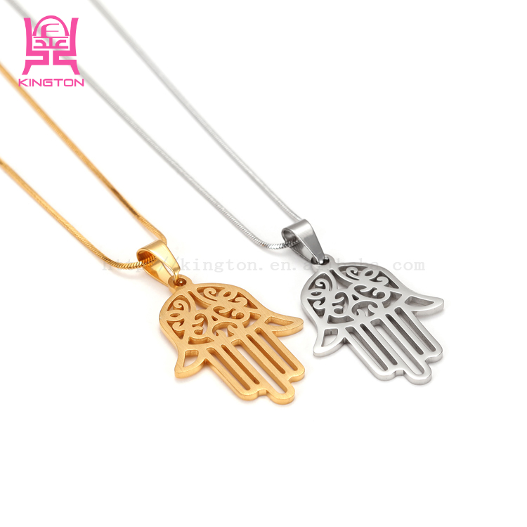 Best design fine hand palm pendant necklace jewelry long chain necklace costume jewelry gold for women