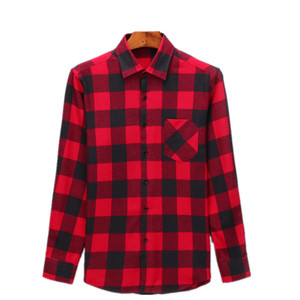 Wholesale Slim Fit Plaid Shirts OEM 100% cotton Men Flannel Long Sleeve Shirts