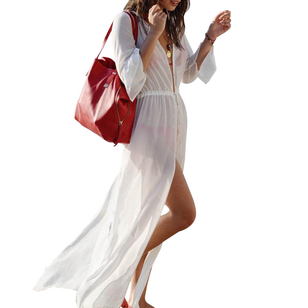 Женщин сексуальный свободного покроя широкий длинной щелью пляж бикини прикрыть купальники купальник платье B2C магазин