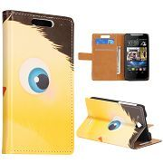 Wallet Style Cute Yellow Chicks Folio Magnetic Flip Stand Leather Case with Card Slot for HTC Desire 310