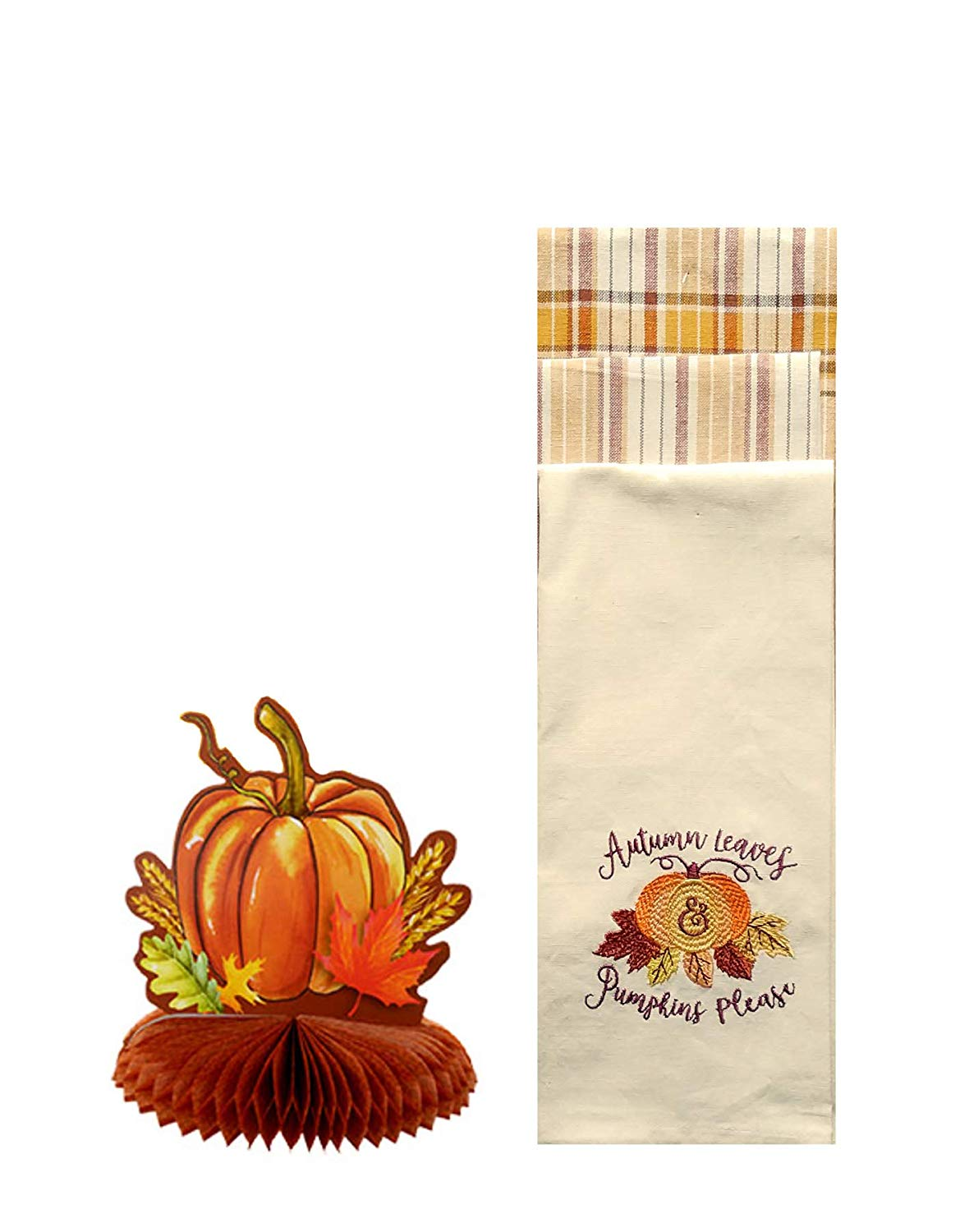 After Noon Only Fall Kitchen Dish Towel 3 Piece Set with Embroidered Pumpkin Design and Honeycomb Pumpkin Centerpiece