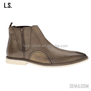 China shoes factory handmade Luxury brown pure leather Chelsea boot shoes men