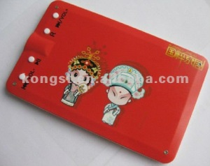 Credit card style mp3 player