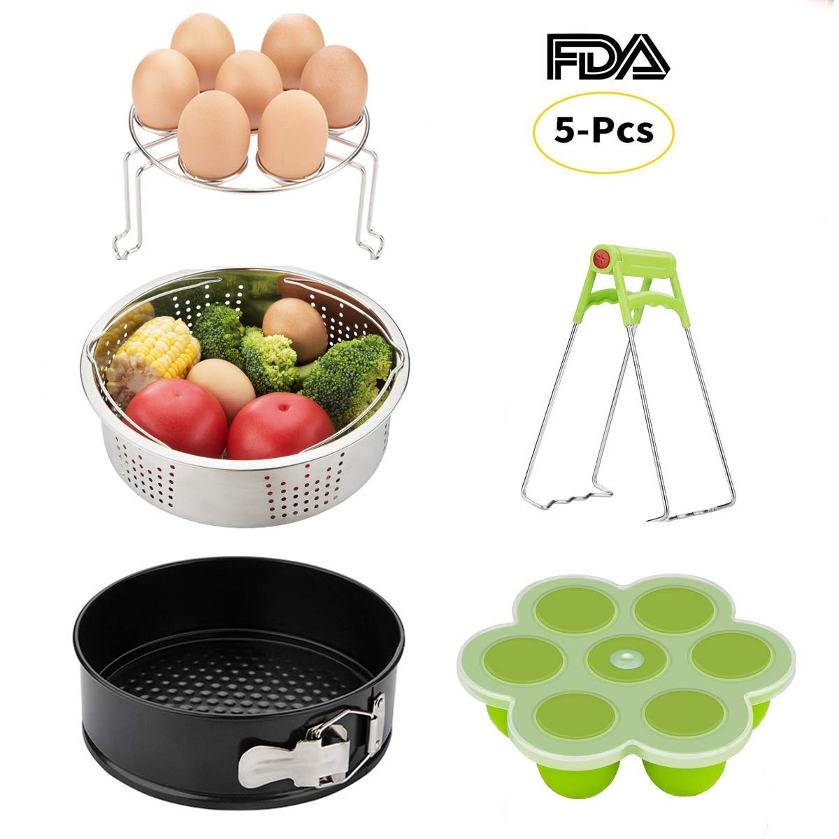 Instant Pot Accessories Set-Fits 5,6,8Qt Instapot Pressure Cooker,5-Pcs with Steamer Basket/Egg Steamer Rack/Egg Bites Molds/Non-stick Springform Pan/DishClip