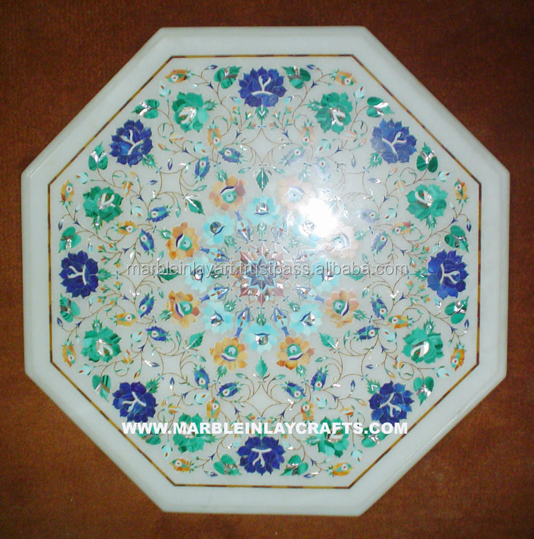 White Inlay Octagonal Marble Table Tops