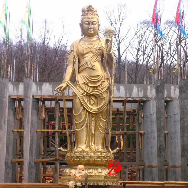 Large Brass Kuan Yin Buddha Garden Statue Standing In Gold Color