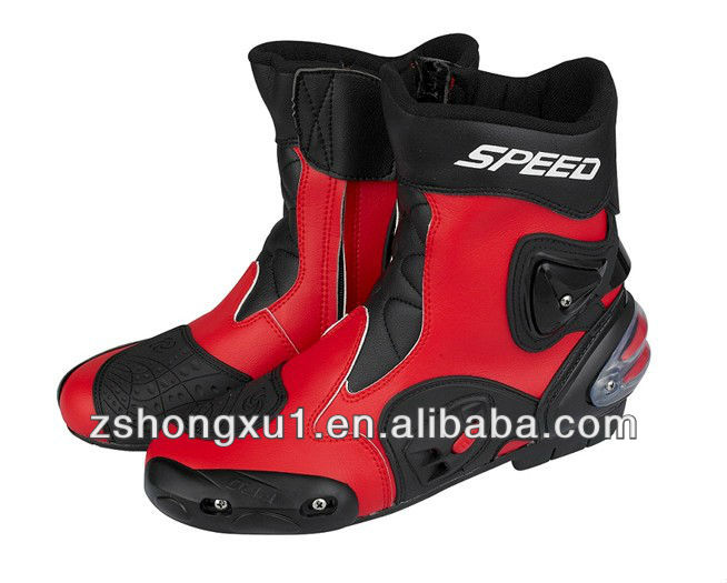 colour motorcycle Fiber with Red Boots Motorcycle Mens red Super boots Leather HAqwxn