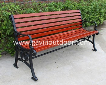 Outdoor Patio Cast Iron Bench Legs Wood Slats Seats