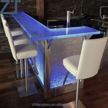 commercial wine bar cast glass countertop