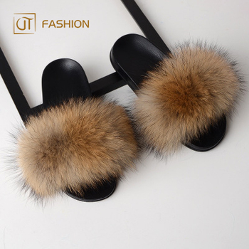 907aa1e9635 Factory wholesale jtfur raccoon fur PVC black sole fur slippers fashion  sandals fluffy women real fur