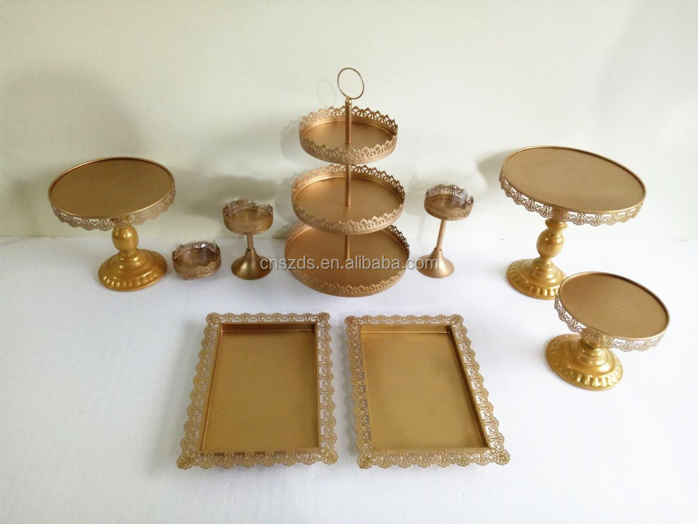 Set of 12 pieces gold cake stand wedding cupcake stand set candy bar decoration cake tools bakeware set