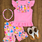 pink baby girls summer clothes wholesale children boutique outfits little girl shorts sets