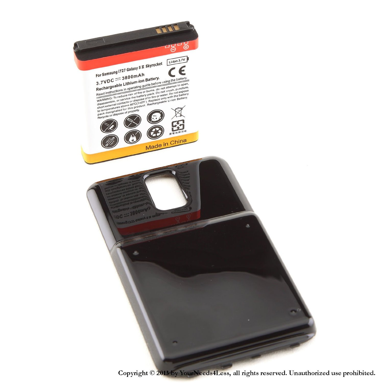 YN4L® 3800mAh extended battery for Samsung Galaxy S II 2 Skyrocket i727 AT&T + Black cover