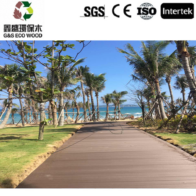 Wood grain surface wpc decking outdoor easy install plastic laminate flooring