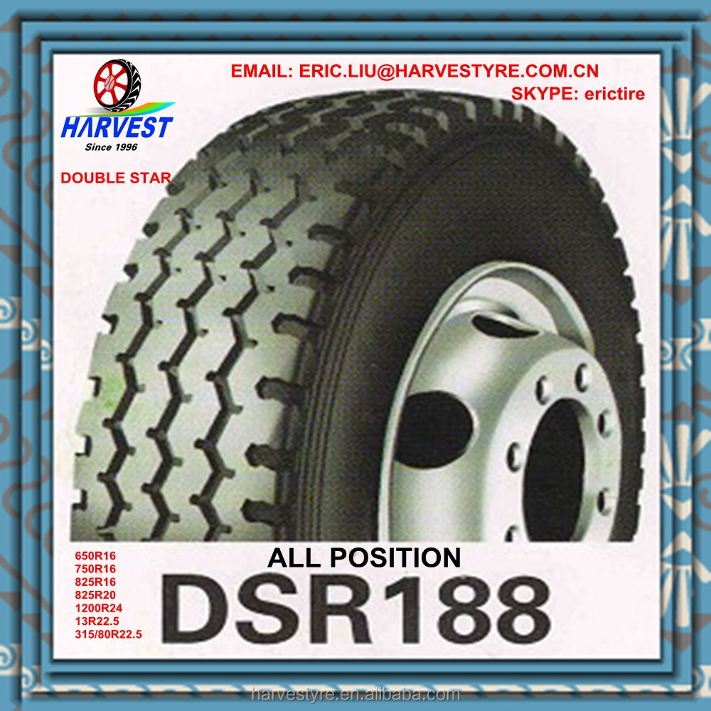 double star 650r16 750r16 825r16 825r20 1200r24 13r22.5 315/80r22.5 truck tire DSR169 all position