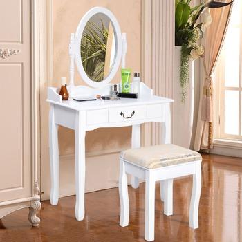Shabby Chic Dressing Table Mirror Vanity Makeup Drawer Stool Desk