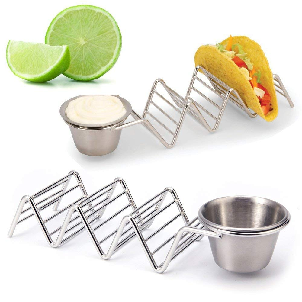 Taco Holder,Environmental Stainless Steel Taco Holders Stand Rustproof Taco W Rack With Condiment Cups - 2 Packs Set
