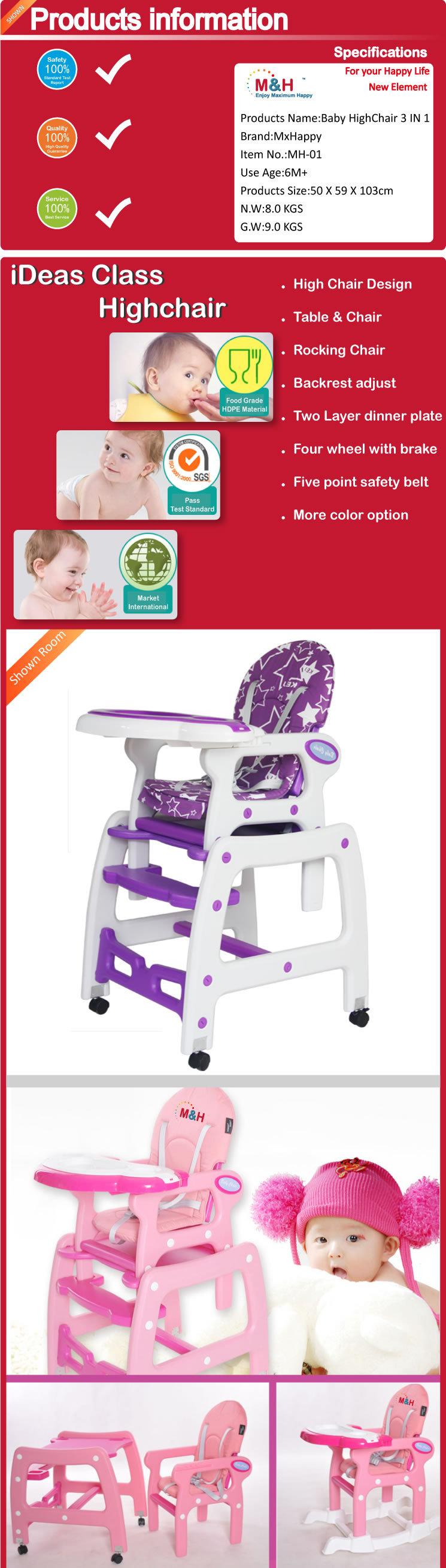 Baby High Chair 3 In 1 Multifunctional Plastic Baby Highchair Kids