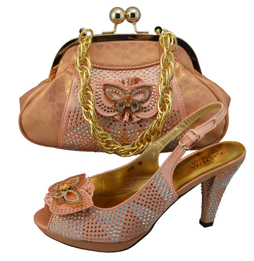 Italian style ladies shoes and matching bag set,latest pattern African shoes and bag in peach