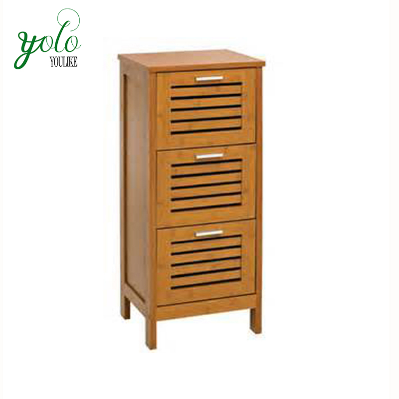 Living Room and bathroom large storage Organizer space Rack Multifunctional furniture bamboo floor Cabinet Stand with 3 Drawers