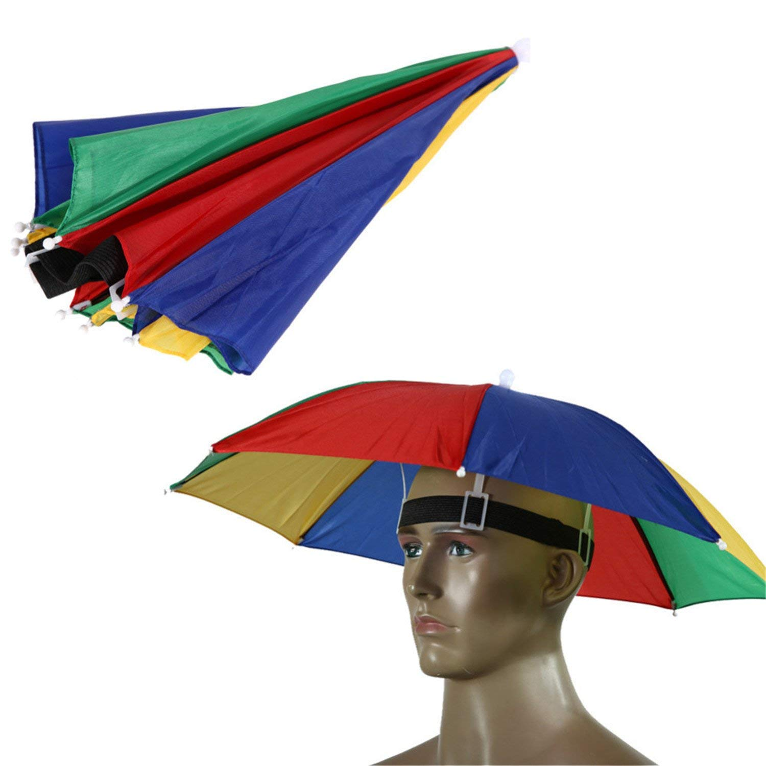 406efa2d79c Get Quotations · 55 Cm Hands Free Usefull Umbrella Hat Camping Fishing  Hiking Festivals Outdoor Parasol Umbrella Hat Cap