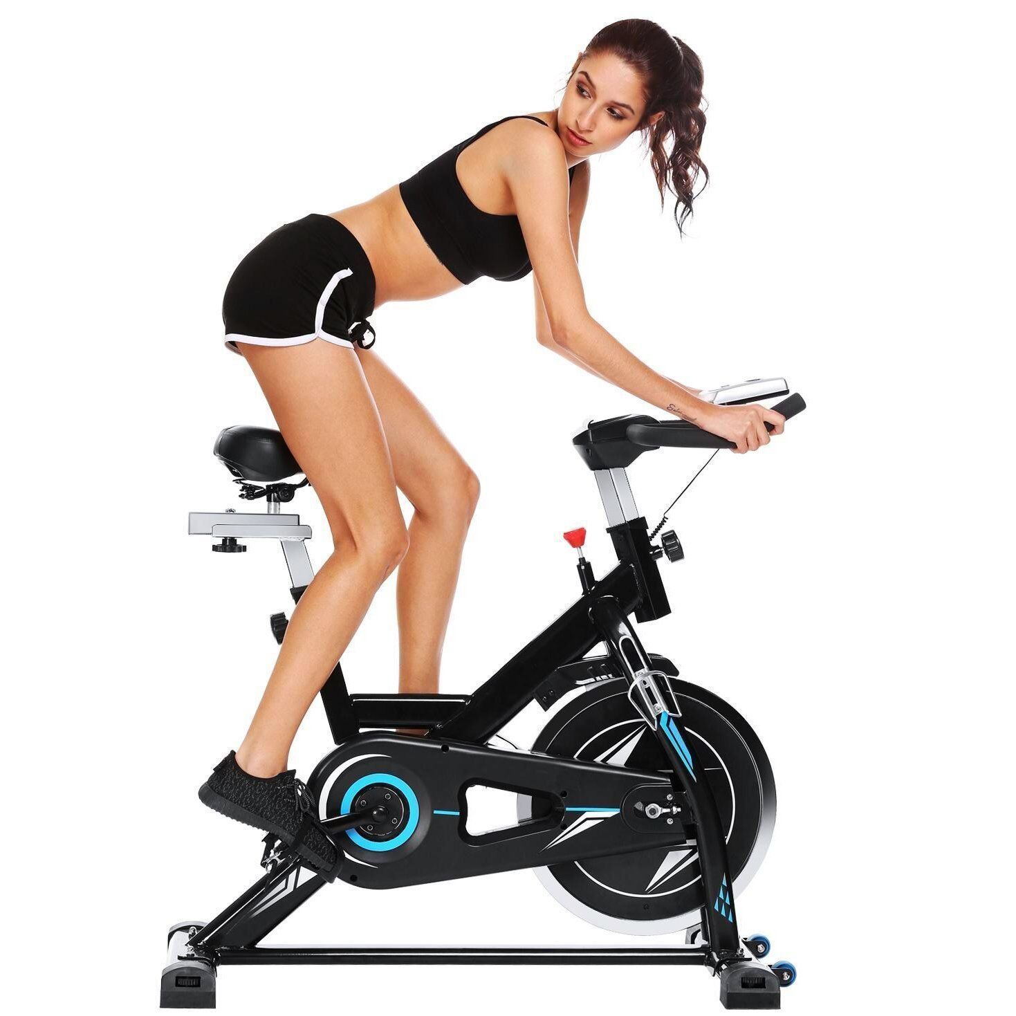 Stationary Exercise Bike Bicycle, Health Fitness Belt Drive Indoor Resistance Exercise Cycling Cycle Bike Exercise Equipment Machine Workout for Home Office Gym