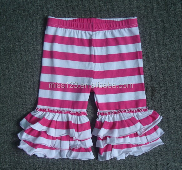 2015 Preorder Sweet Adorable Ruffled capris Little Girls Triple ruffled capris Stripe Pants Wholesale