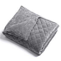Removable Weighted Blanket Cover with Grey Quilted Ultra Soft Minky fabric