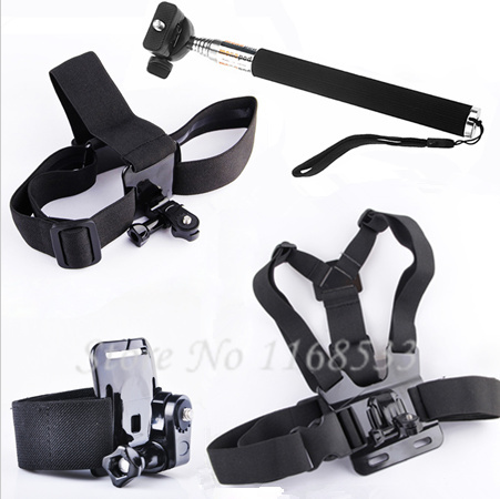 Gopro Accessories Monopod Mount Accessories Head Chest Wrist Strap Kit For Sony