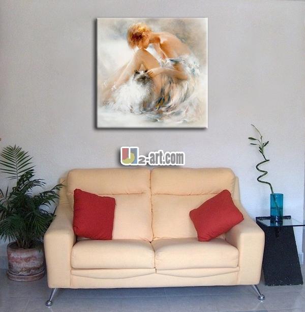Toile Peinture Art Belle Fille Peinture À L'Huile Pour Mur De La