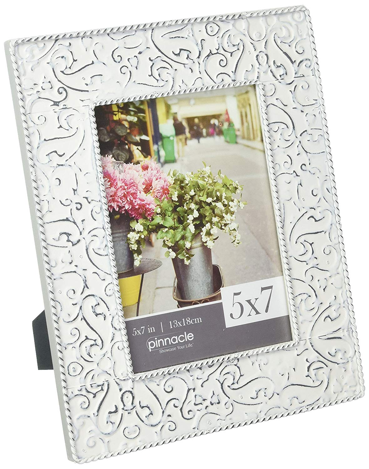 Pinnacle Frames and Accents 5X7 Embossed Metal Tin Distressed Tabletop Picture, White